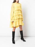 TIERED RUFFLE DRESS IN SILK CHIFFON