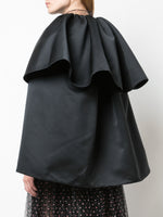 TIERED CAPE IN DUCHESS SATIN