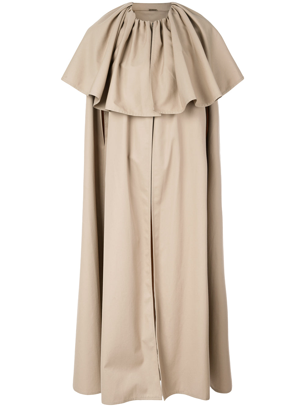 COTTON TWILL TIERED LONG CAPE