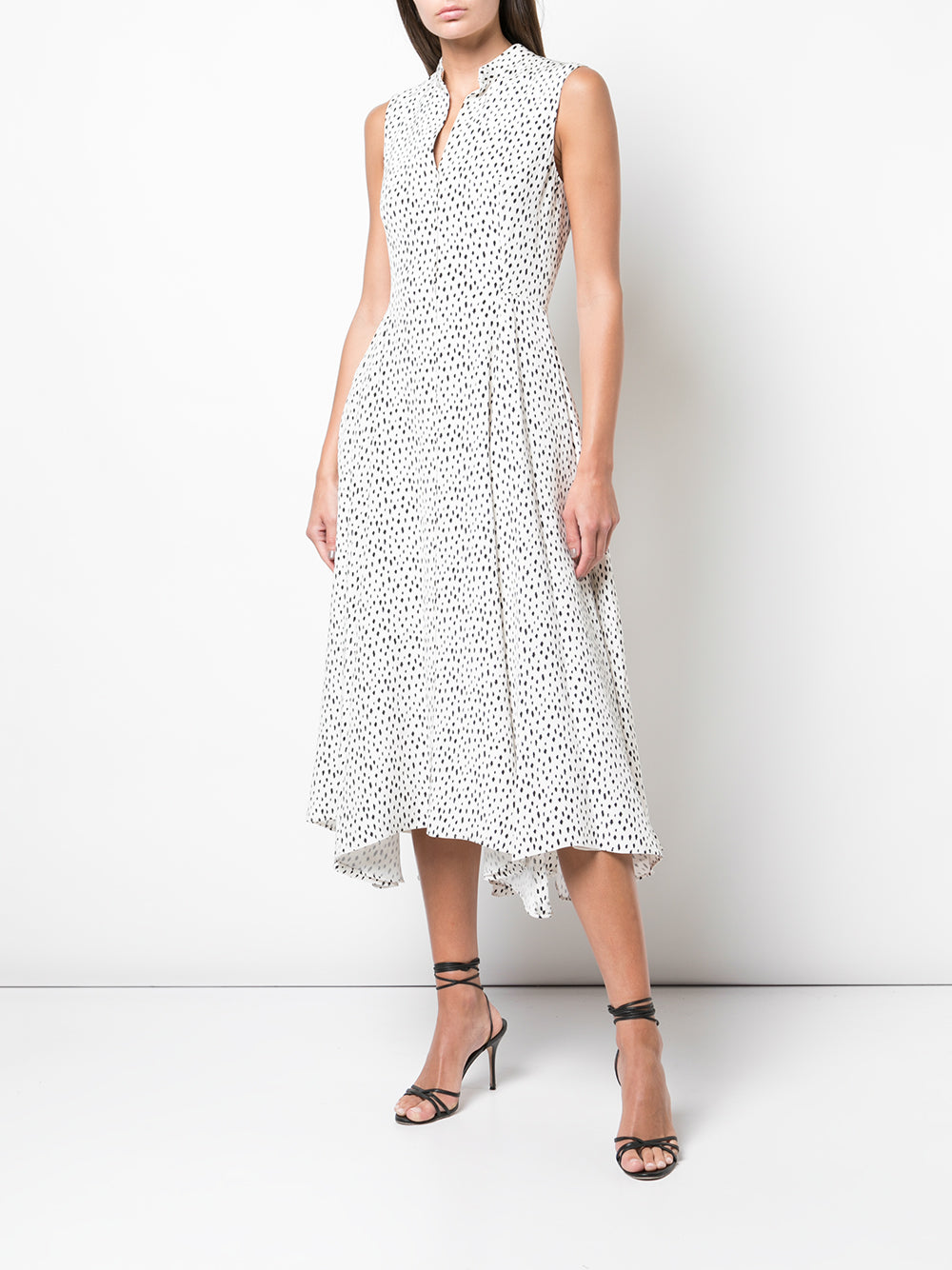 SLEEVELESS DRESS IN PRINTED CREPE
