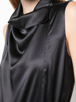 SILK CHARMEUSE COWL NECK SHELL