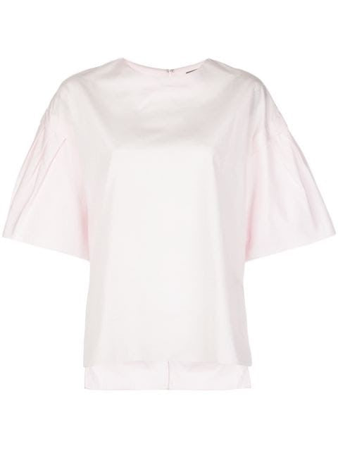 FLUTTER SLEEVE TOP IN COTTON POPLIN