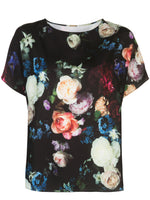SHORT SLEEVE DOLMAN TOP IN PRINTED CREPE