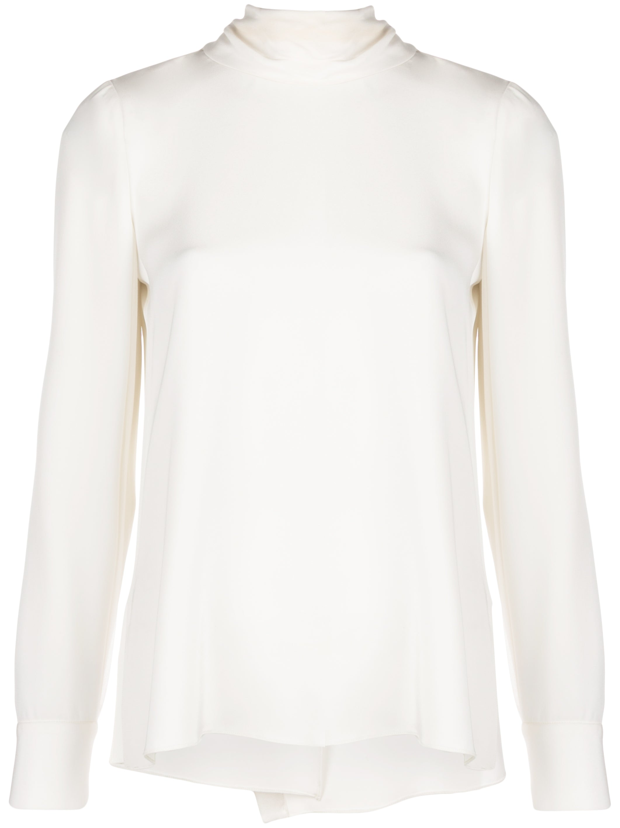 LONG SLEEVE SCARF NECK TOP IN CREPE