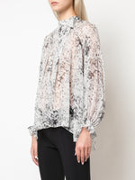 PINTUCK TOP WITH BOW IN PRINTED CHIFFON
