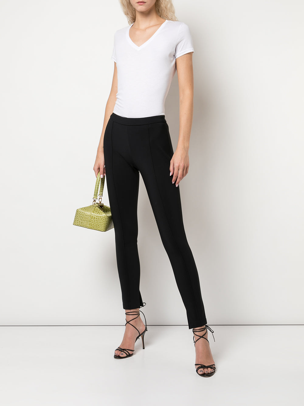 SKINNY PANT WITH PINTUCK IN BONDED NEOPRENE