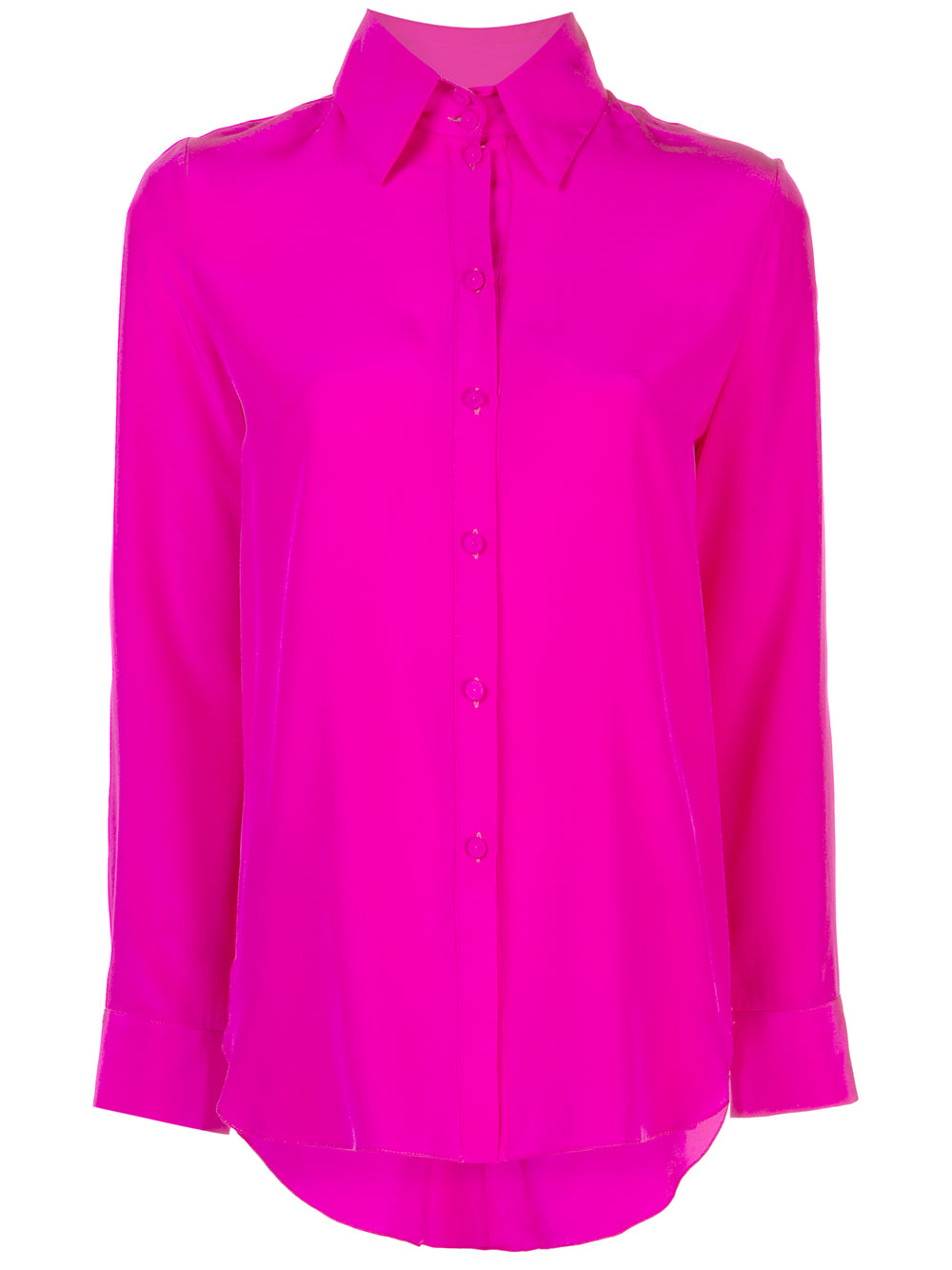 BUTTON FRONT TOP WITH POINTED COLLAR IN SILK