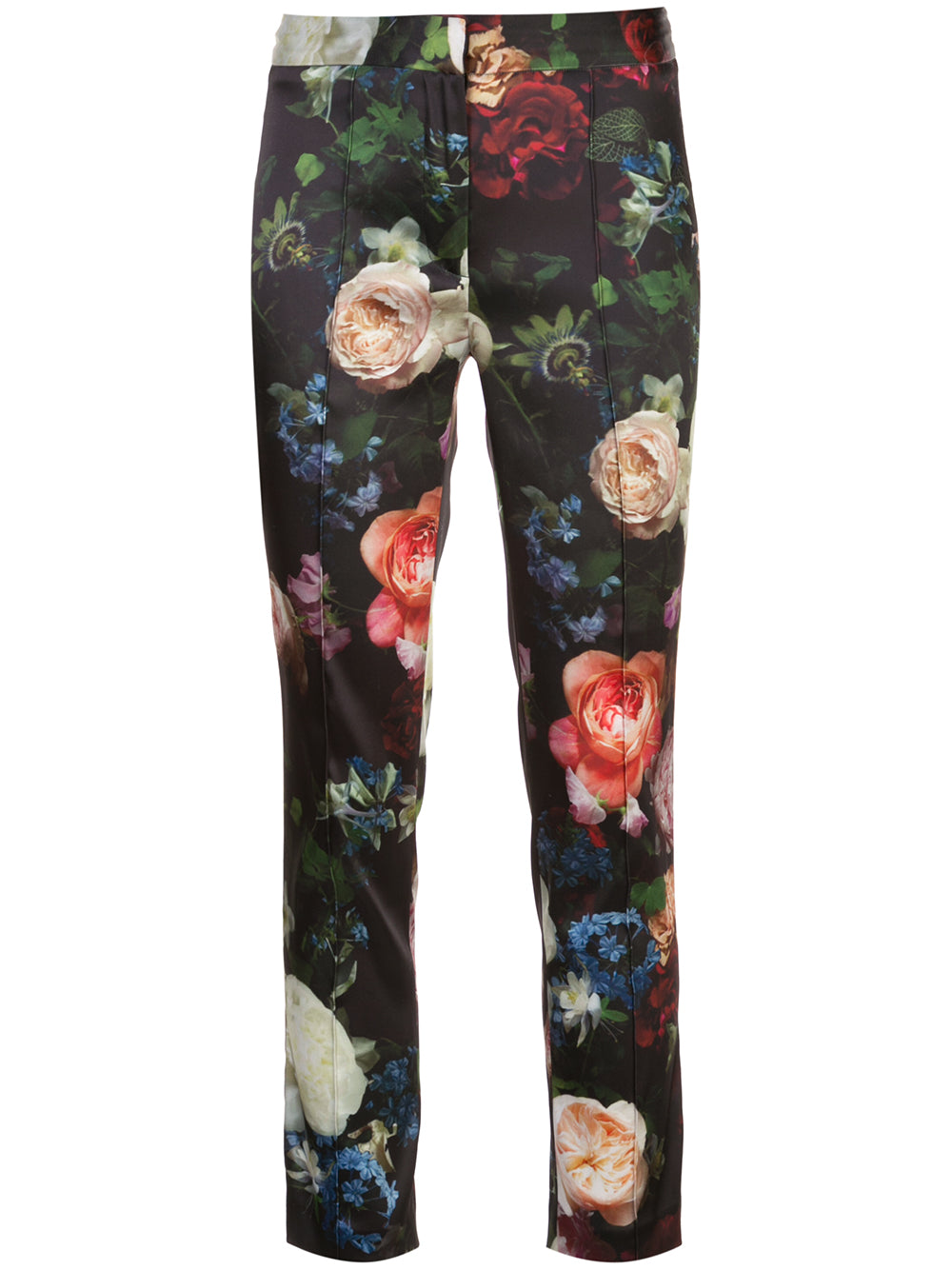 CIGARETTE PANT IN PRINTED STRETCH SATIN