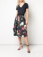 MIDI SKIRT WITH ELASTIC WAIST IN PRINTED POPLIN