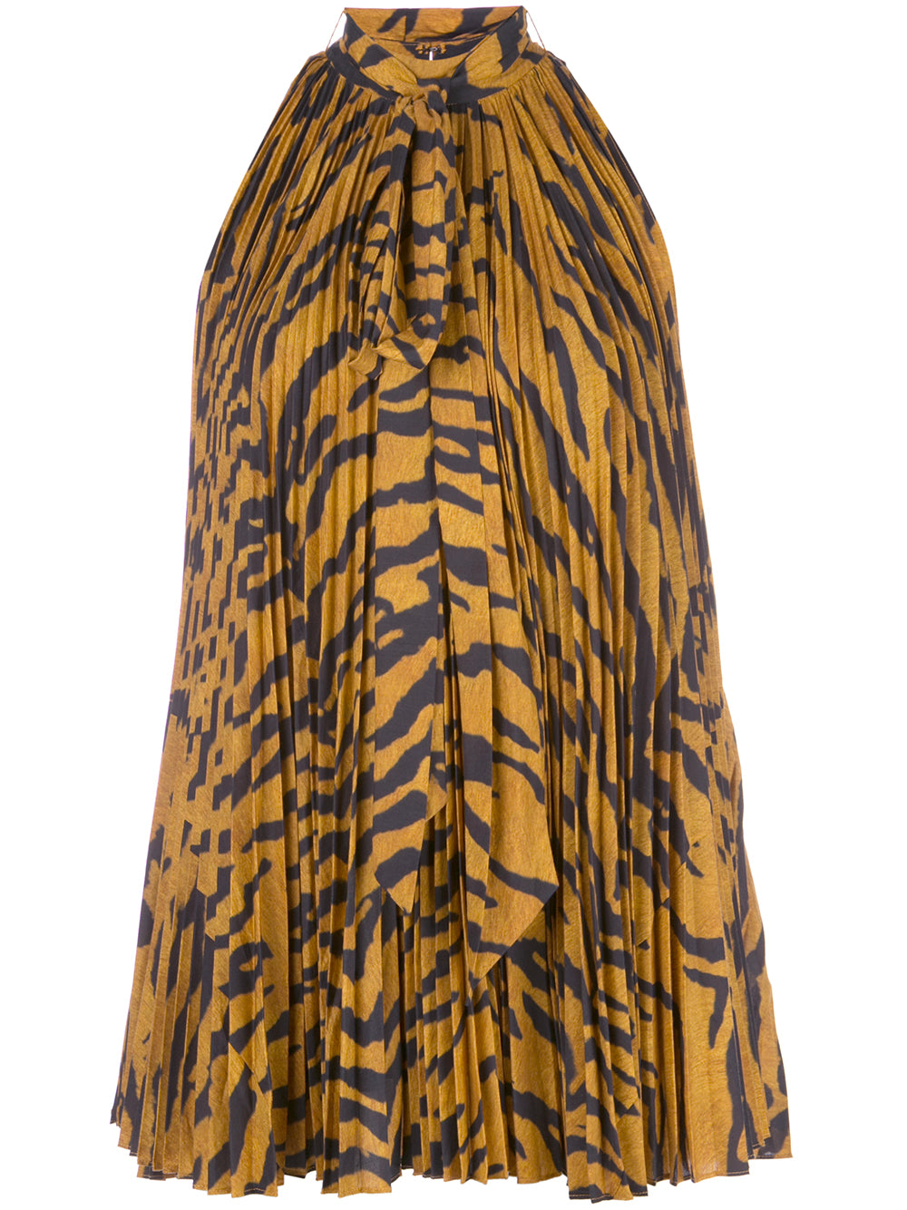 PLEATED HALTER TOP IN PRINTED VOILE