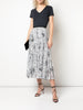 PLEATED MIDI SKIRT IN PRINTED CHIFFON