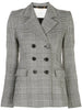 BLAZER WITH HIGH LAPEL IN DOUBLE FACE PLAID WOOL