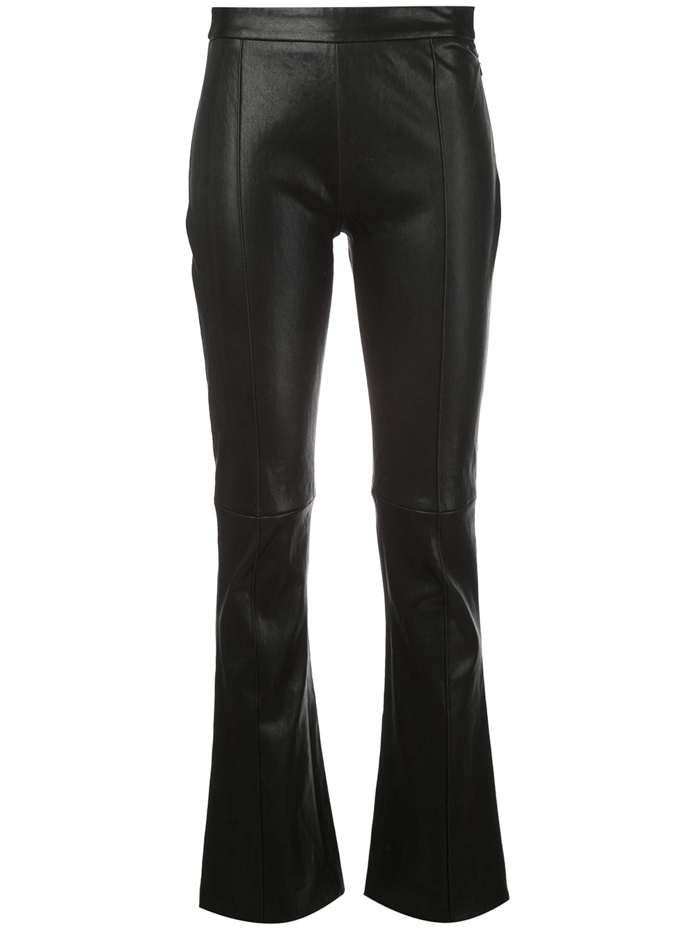 CROPPED KICK FLARE PANT IN STRETCH LEATHER