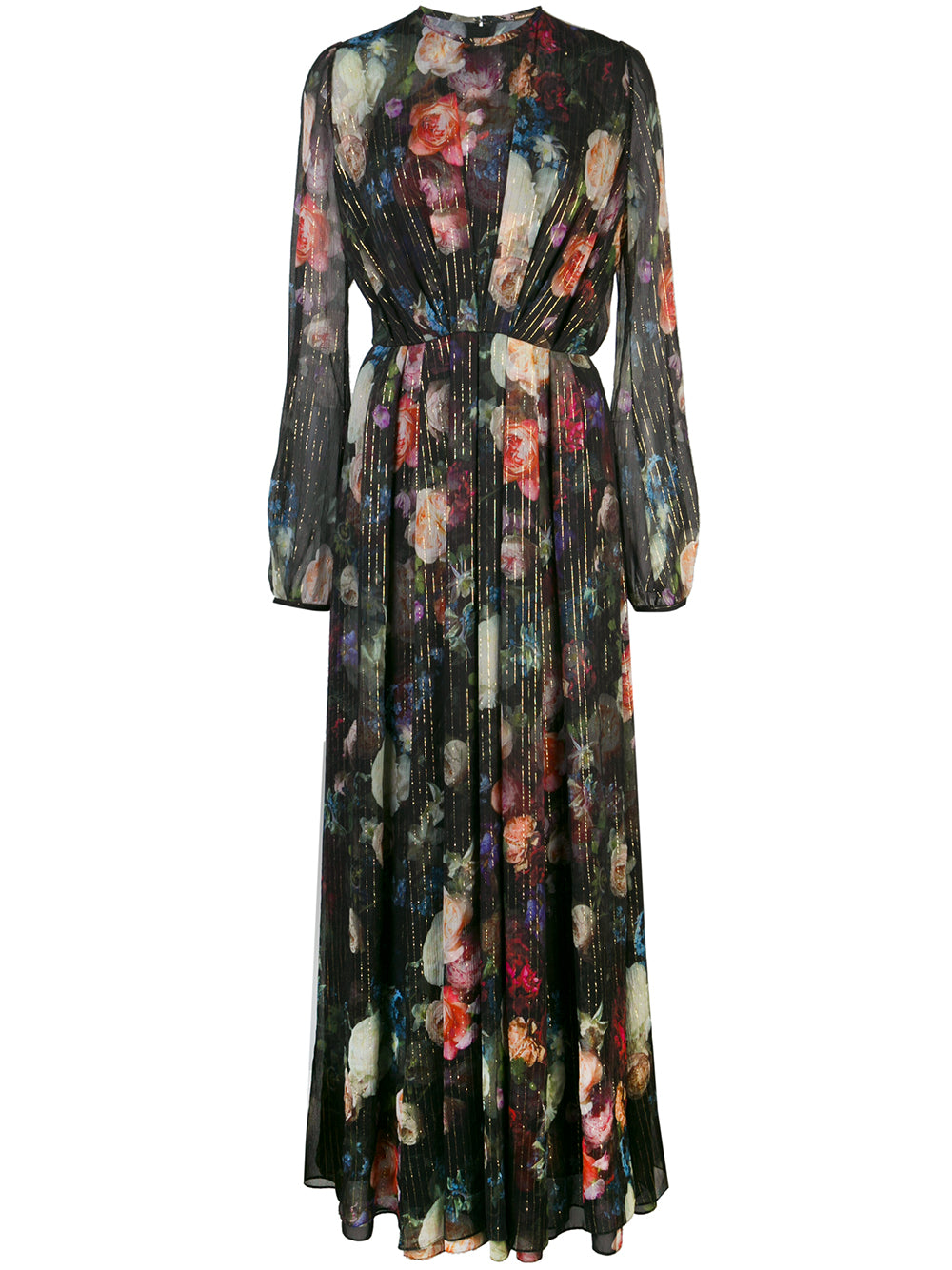 LONG SLEEVE GOWN WITH PLEATED WAIST IN PRINTED CHIFFON