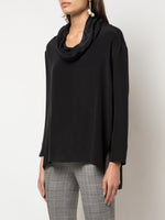 LONG SLEEVE COWL NECK TOP IN SILK