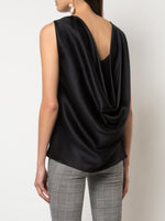 COWL BACK DRAPE SHELL IN SILK CHARMEUSE
