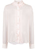 PLEAT FRONT BLOUSE WITH RUFFLE NECK IN CHIFFON
