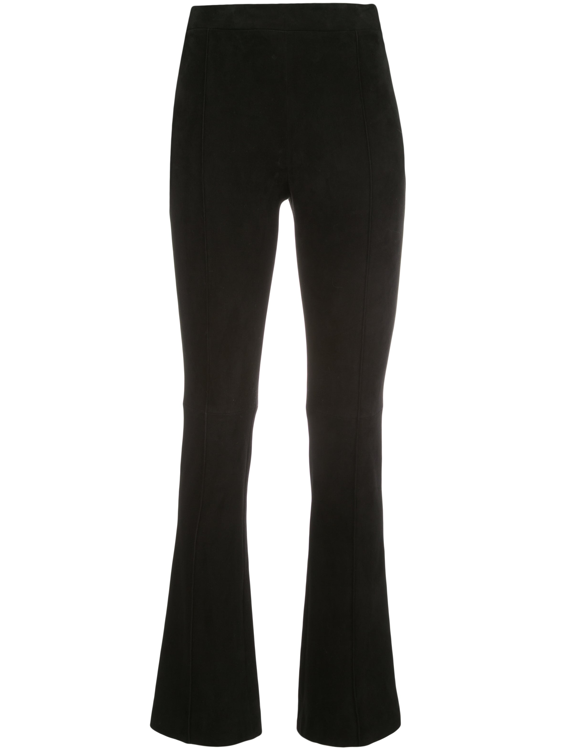 CROPPED KICK FLARE PANT IN STRETCH SUEDE