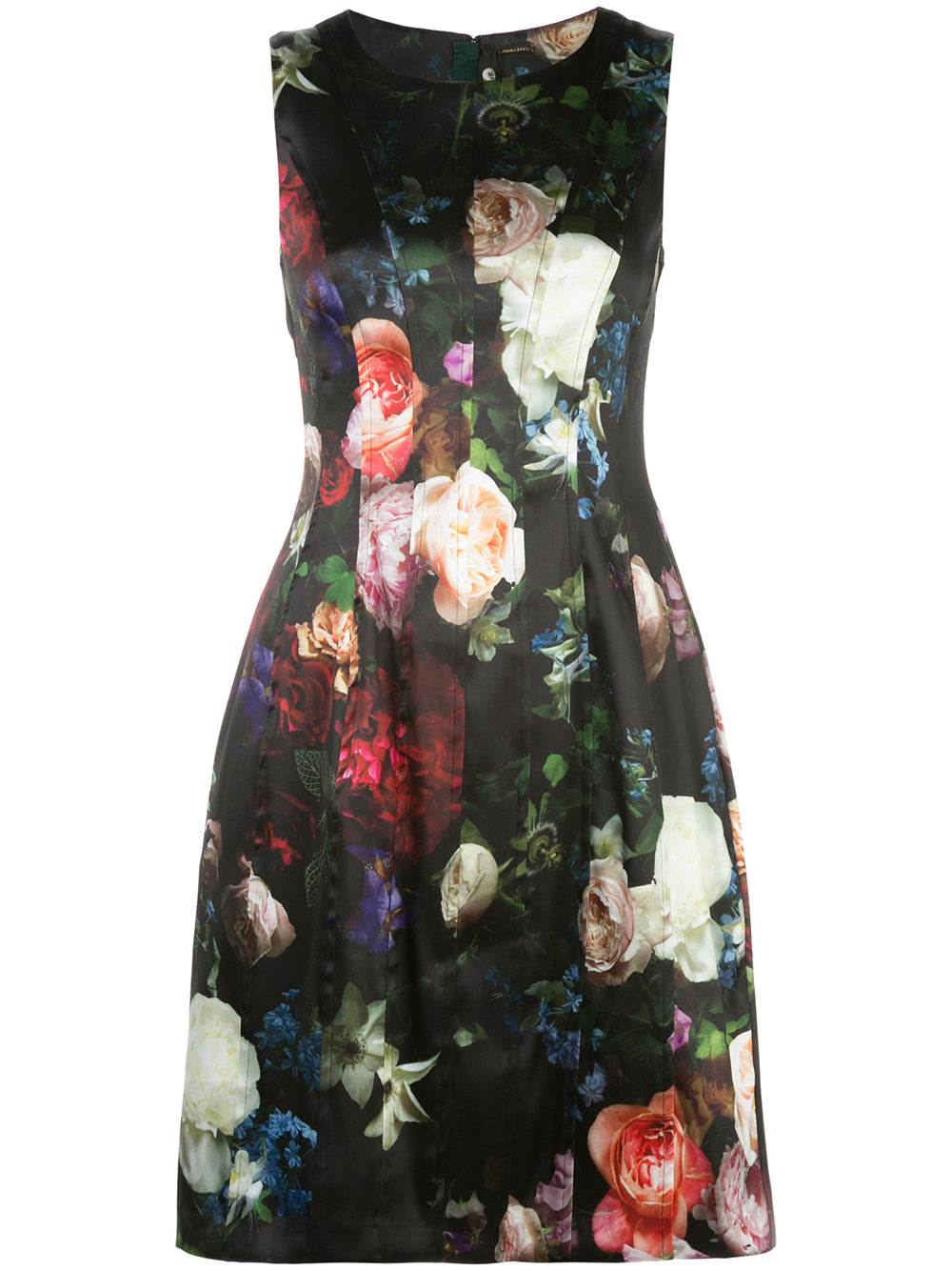 SEAMED FLARE DRESS IN PRINTED SATIN