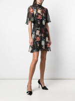 MINI DRESS WITH FLOUNCE SLEEVE IN PRINTED CHIFFON