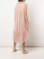 TRAPEZE DRESS WITH RUFFLE COLLAR IN POINT D'ESPRIT