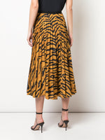 PLEATED MIDI SKIRT IN PRINTED VOILE