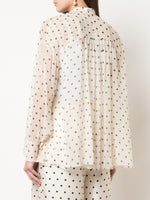 BOW NECK POET SHIRT IN PRINTED CHIFFON
