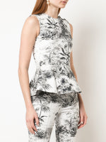 PEPLUM TOP IN PRINTED TWILL