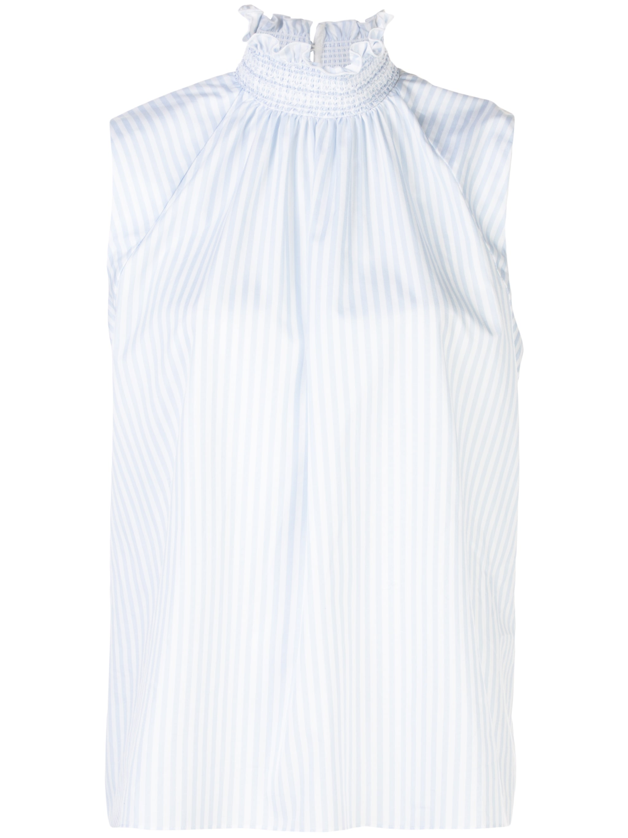 SLEEVELESS SMOCKED NECK TOP IN STRIPED COTTON