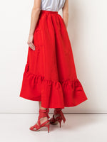 RUFFLE HEM SKIRT IN SILK FAILLE