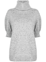 PUFF SLEEVE SWEATER IN MARLED WOOL CASHMERE