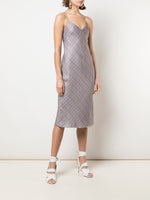 V-NECK CAMI DRESS IN PRINTED SILK TWILL