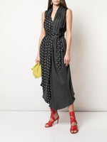 SLEEVELESS ASYMMETRICAL DRESS IN PRINTED TWILL