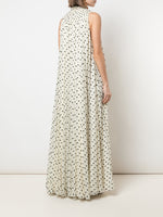 SMOCKED NECK GOWN IN FLOCKED CHIFFON