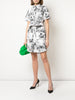 BELTED SHIRT DRESS IN PRINTED TWILL