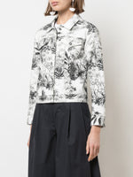 CROPPED JACKET IN PRINTED TWILL