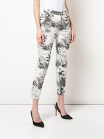 CIGARETTE PANTS IN PRINTED TWILL