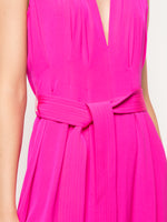 SLEEVELESS BELTED JUMPSUIT IN SATIN BACK CREPE