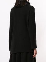 BRUSHED ITALIAN CASHMERE TURTLENECK WITH PEARL SIDE BUTTONS
