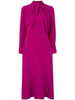 LONG SLEEVE DRESS WITH NECK TWIST IN SILK CREPE
