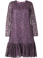 LONG SLEEVE DRESS WITH RUFFLED HEM IN FRENCH CORDED LACE