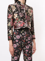 CROPPED JACKET IN ITALIAN SILK JACQUARD