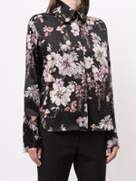 LONG SLEEVE BLOUSE WITH PETER PAN COLLAR IN PRINTED CHARMEUSE
