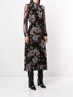 TWIST DRAPE NECK DRESS IN FRENCH SILK CHIFFON
