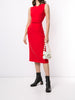 V-NECK SHEATH DRESS WITH BELT IN WOOL CREPE