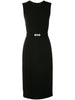 V-NECK SHEATH DRESS WITH CRYSTAL BELT IN WOOL CREPE