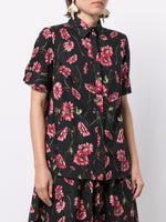 SHORT SLEEVE TRAPEZE TOP IN PRINTED POPLIN