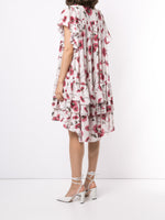 TIERED DRESS WITH FLOUNCE SLEEVE IN PRINTED GEORGETTE
