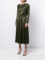 COWL NECK DRESS IN SILK CHARMEUSE
