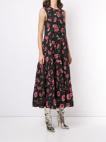 SLEEVELESS TIERED MAXI DRESS IN PRINTED POPLIN